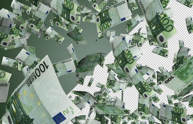 Банкноты евро падают - сотни из 100 долларов падают сверху Premium Psd