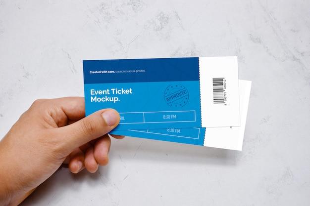 Event ticket in hand mockup Premium Psd