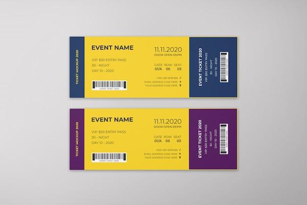 Event tickets mockup Premium Psd