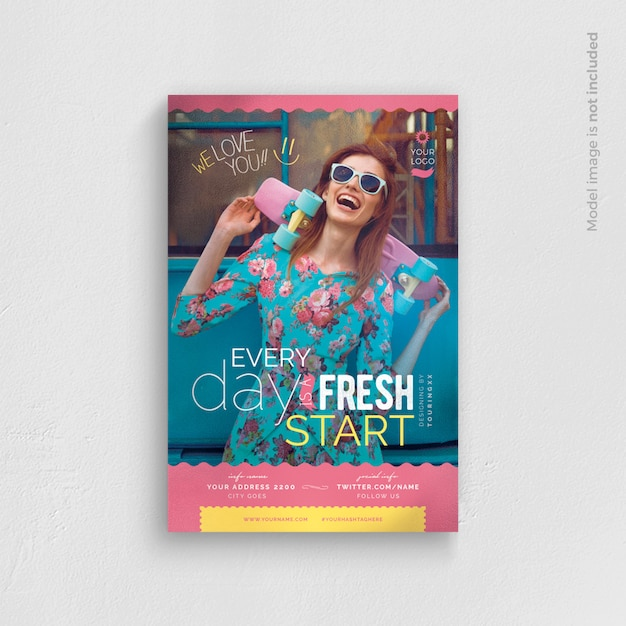 Every day is a fresh start flyer template Premium Psd