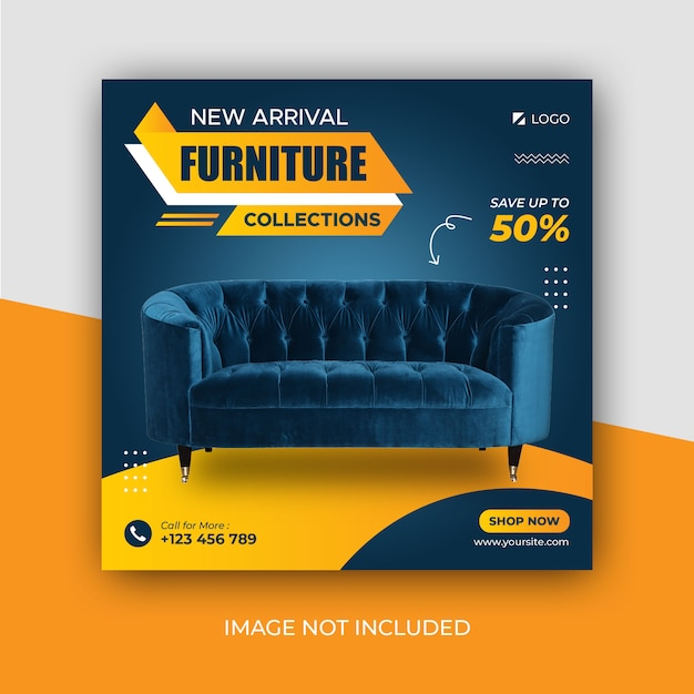 Эксклюзивная мебель в социальных сетях instagram post template Premium Psd