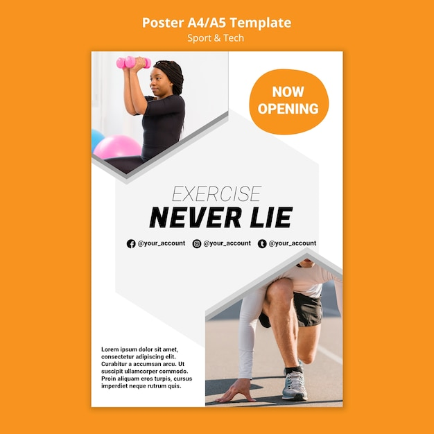 Exercise never lie workout poster template Free Psd