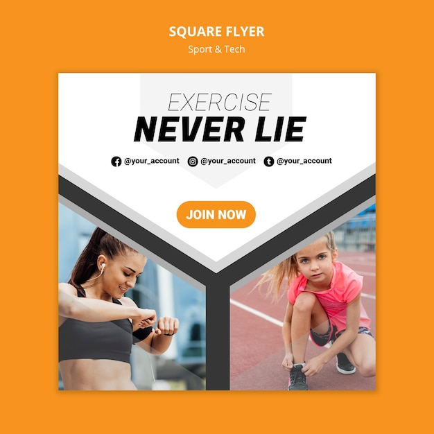 Exercise never lie workout square flyer Free Psd