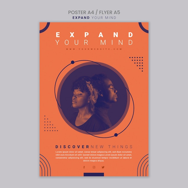 Expand your mind poster template Free Psd