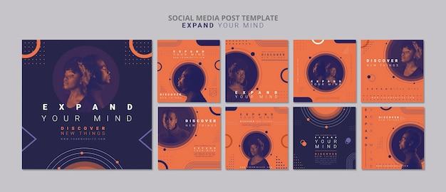 Espandi la tua mente modello di post sui social media Psd Gratuite
