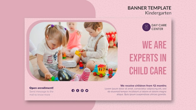 Experts in child care kindergarten banner template Free Psd