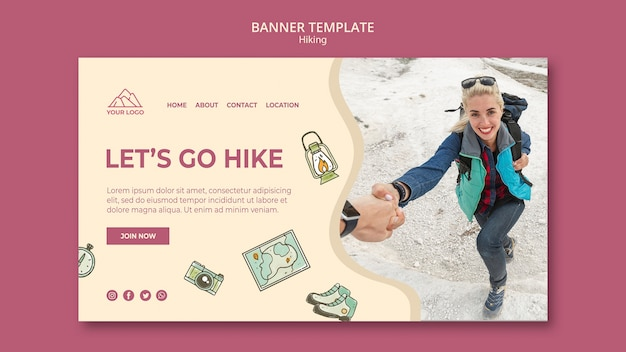 Exploration and hiking banner template Free Psd
