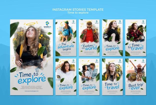 Explore concept instagram stories template Free Psd