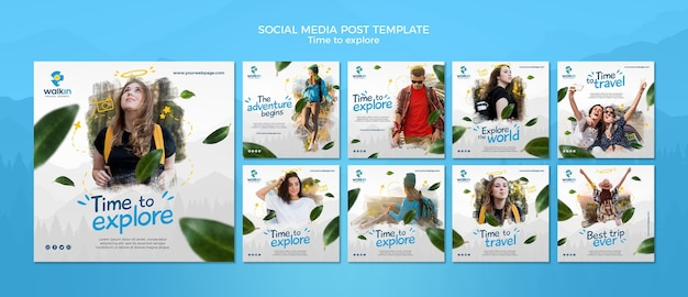 Explore concept social media post template Free Psd