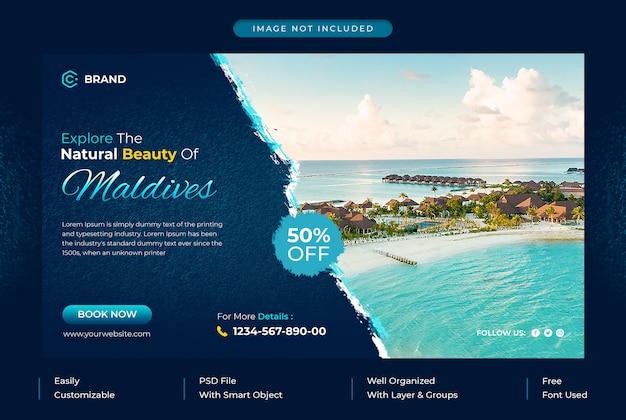 Explore maldives travel agency promotional web banner or social media banner template Premium Psd
