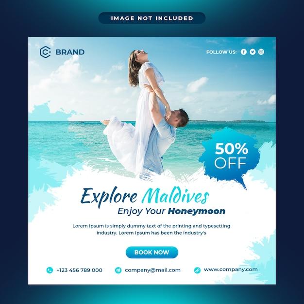 モルディブ旅行代理店のソーシャルメディアとwebバナーテンプレートを探索する Premium Psd