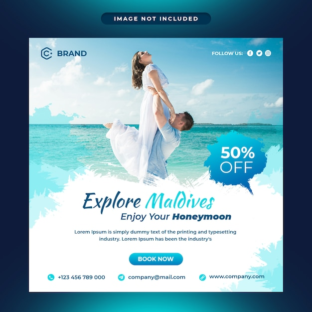 Explore maldives travel agency social media and web banner template Premium Psd