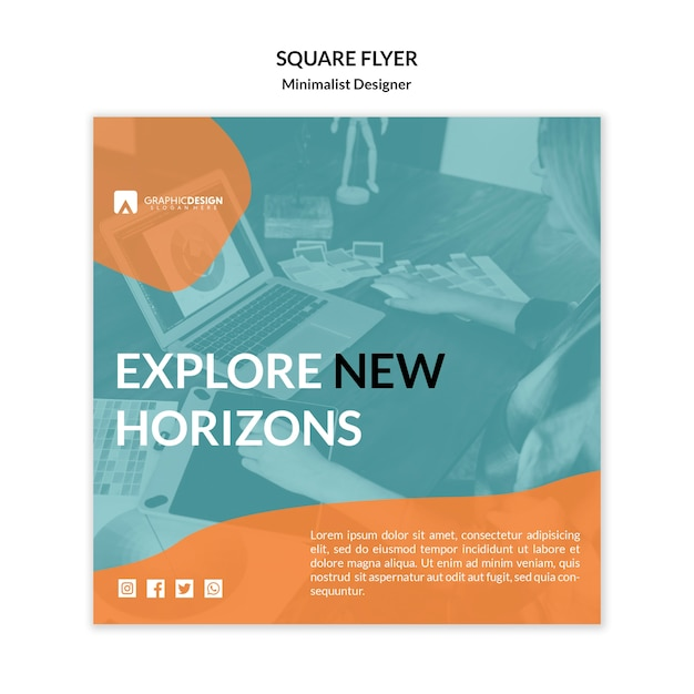 Explore new horizons square flyer template Free Psd