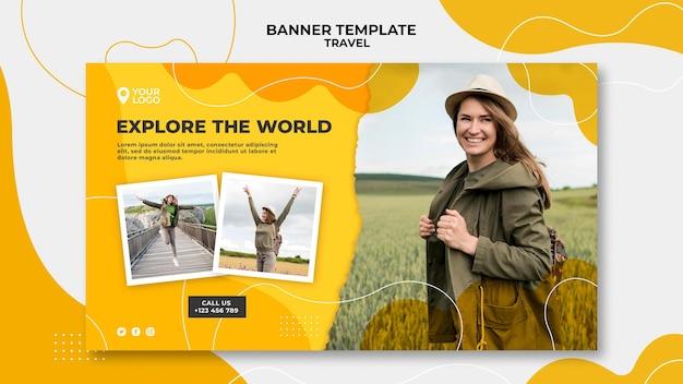 Изучите шаблон баннера мира Бесплатные Psd