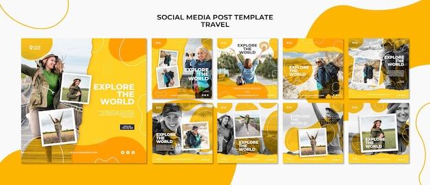 Изучите мировой пост в социальных сетях Premium Psd