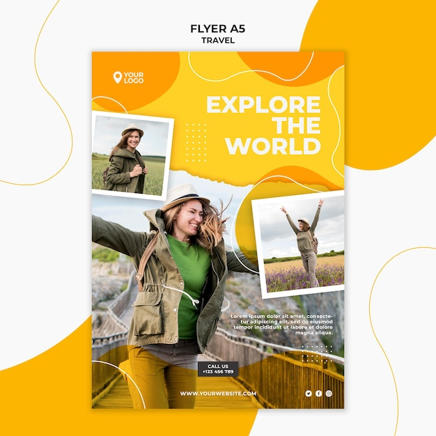 Explore the world flyer template Free Psd
