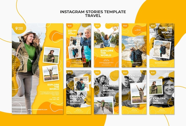 Explore the world instagram stories template Free Psd