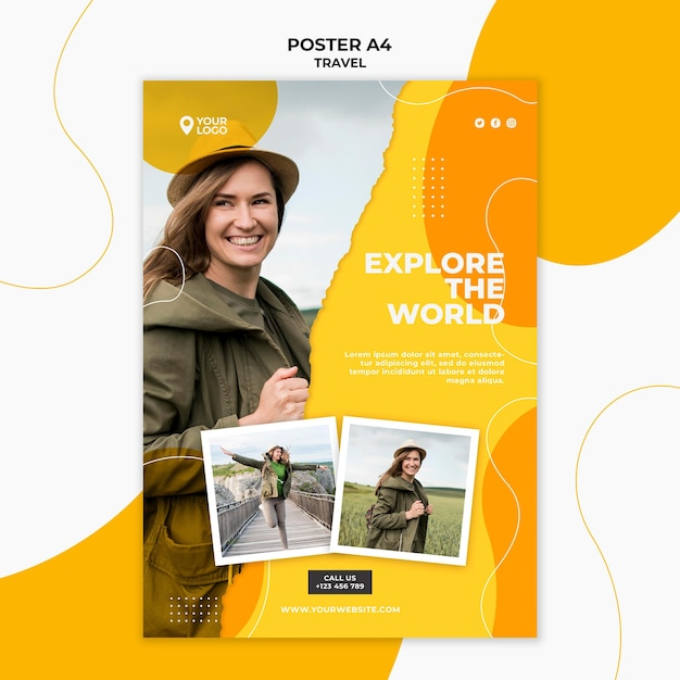 Explore the world poster template Free Psd