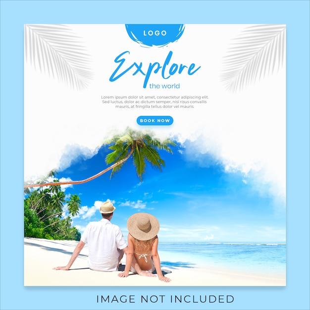 Explore the world social media banner template Premium Psd