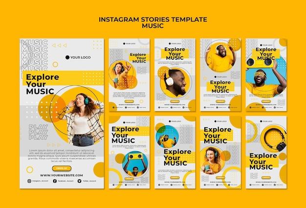 Изучите свои музыкальные истории в instagram Бесплатные Psd