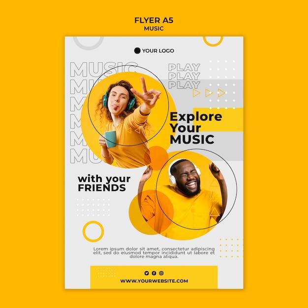 友達と一緒に音楽を探す-チラシテンプレート 無料 Psd