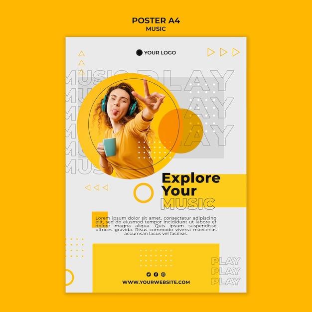 Esplora la tua musica con il modello di poster degli amici Psd Gratuite