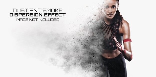 Explosion dispersion photo effect mockup Premium Psd