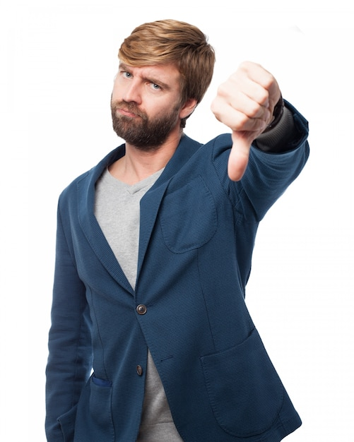 Expressive worker with thumbs down Free Psd
