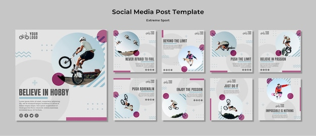 Extreme sport social media post template Free Psd