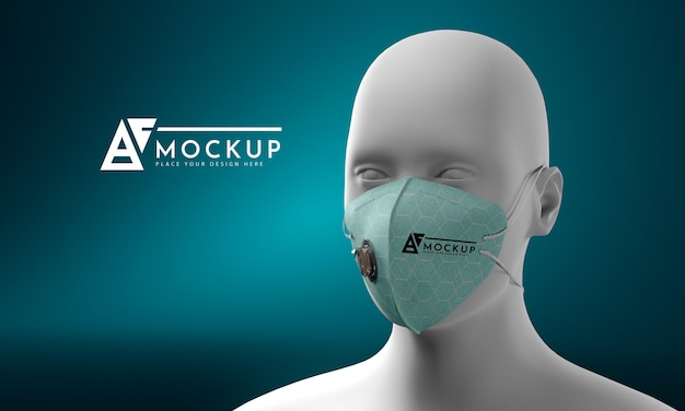 Концептуальный макет маски для лица Бесплатные Psd