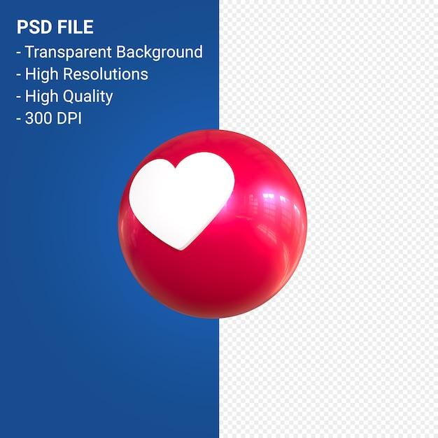 Facebookの3d絵文字反応は孤立した愛 Premium Psd
