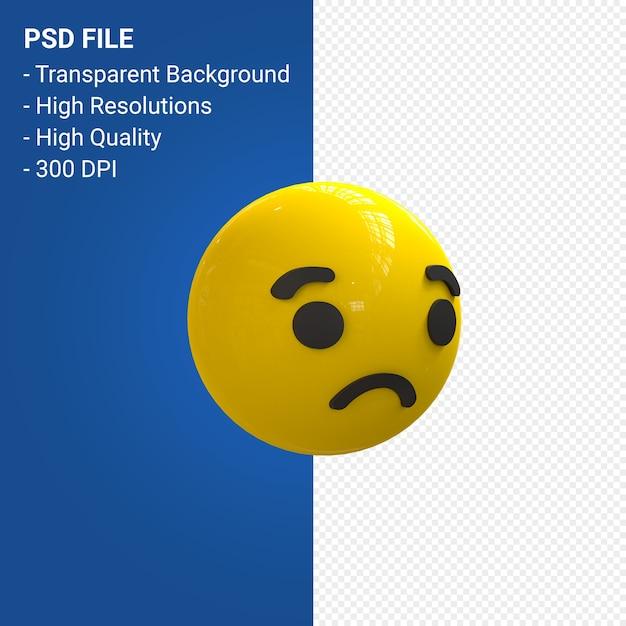 Facebookの3d絵文字反応悲しい孤立 Premium Psd
