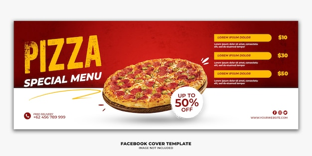 Facebookカバーバナーテンプレートスペシャルファーストフードメニューピザ Premium Psd