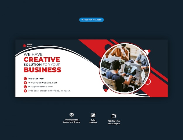 Facebook header banner template for creative agency promotion Premium Psd