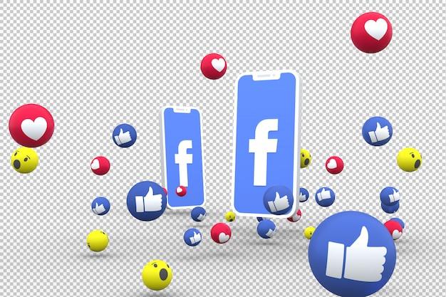 画面上のfacebookアイコンスマートフォンとfacebookの反応が透明な背景に大好き Premium Psd