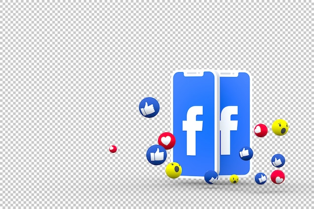 Facebook icon on screen smartphones and facebook reactions Premium Psd