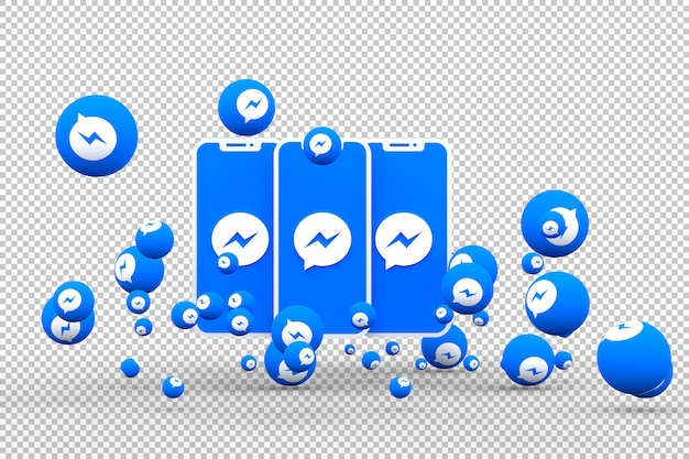 Facebook messenger icon on screen smartphones and facebook messenger reactions Premium Psd