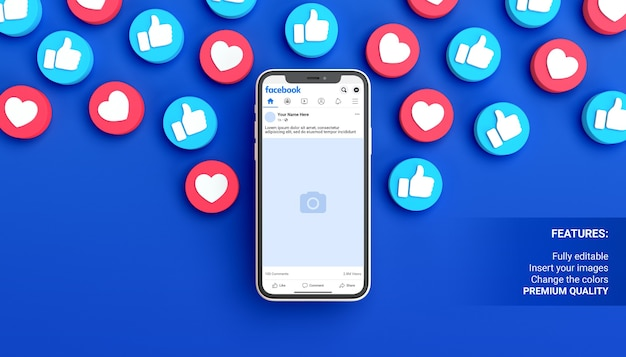 Facebook post mockup with phone on a blue background surrounded by like notifications Premium Psd