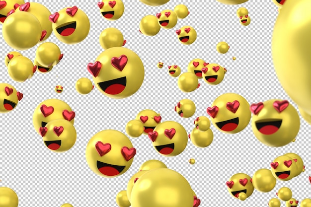 Facebook reactions love emoji 3d render, social media balloon icon with heart Premium Psd