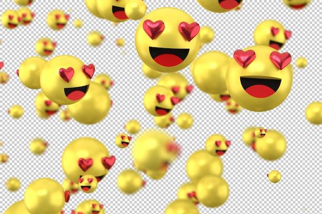 Facebook reactions love emoji 3d render on transparent background,social media balloon symbol with heart Premium Psd