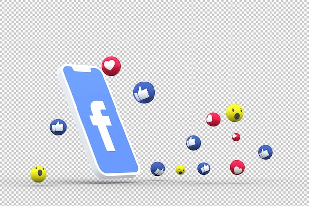 Facebook symbol on screen smartphone or mobile and facebook reactions love,wow,like emoji 3d render Premium Psd