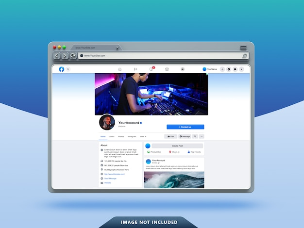 Facebook ui template on 3d web browser mockup Premium Psd