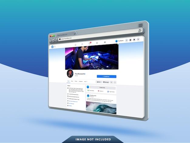 Facebook ui template on 3d web browser mockup Premium Psd