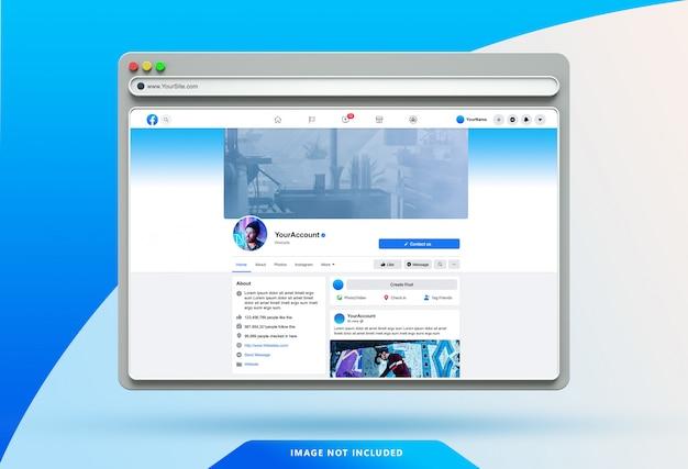 Шаблон пользовательского интерфейса facebook на 3d-макете веб-браузера Premium Psd