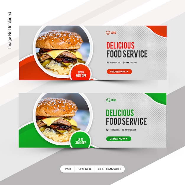 Пищевые социальные медиа веб-баннер, шаблон обложки facebook Premium Psd