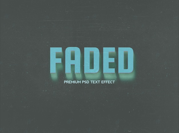 Faded text effect template with blurry shadow Premium Psd
