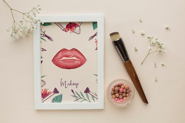 Fahionable makeup concept mock-up Free Psd