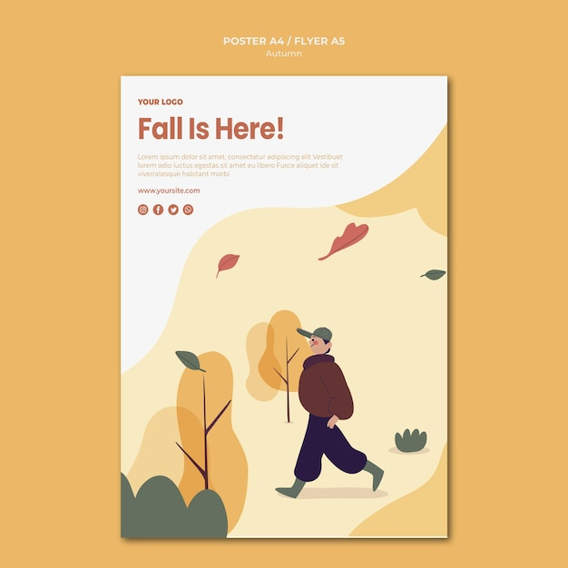 Fall is here flyer template Free Psd