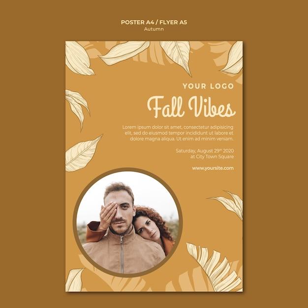 秋の雰囲気とカップルのポスター印刷テンプレート 無料 Psd