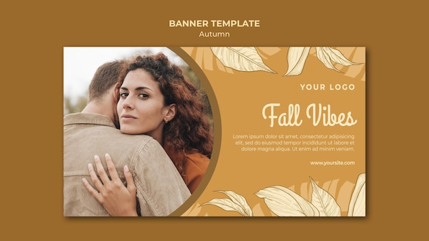 Fall vibes and hugs banner web template Free Psd